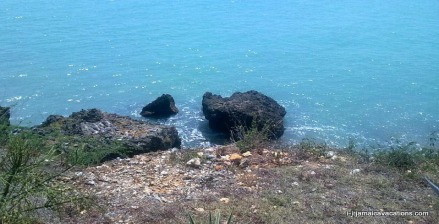 View from road of coastline in the Treasure Beach area St Elizabeth Jamaica