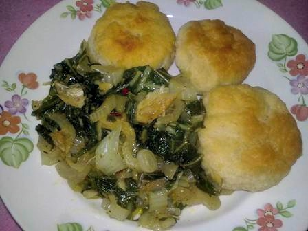 Steamed pack choy and salt fish with fried dumplings (Johnny Cakes)