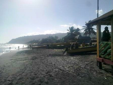 Beach view from Little Ochi Beach Restaurant Huts