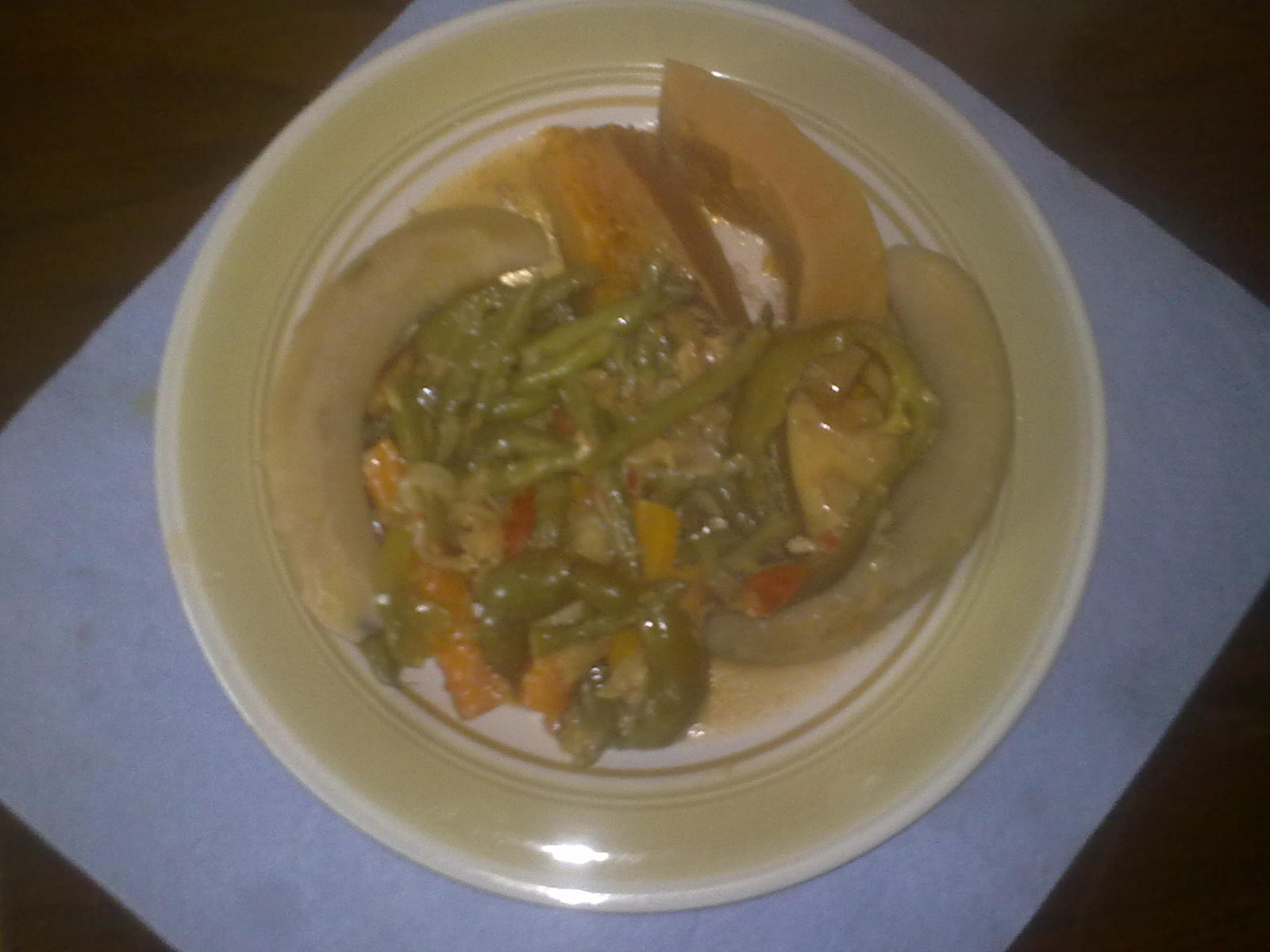 Steamed Vegetable with pumpkin and green bananas