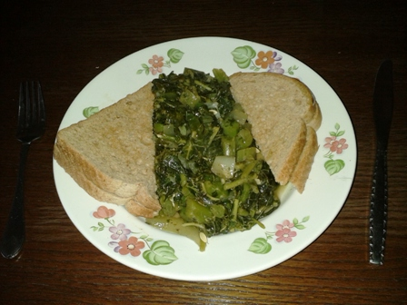 Steamed Callaloo Breakfast with Toast