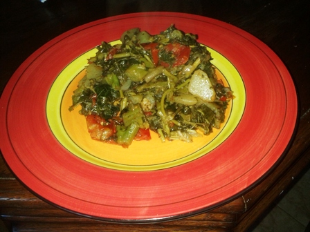 Steamed callaloo with cho cho