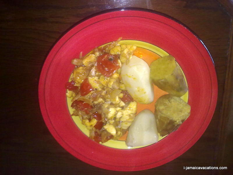 Ackee and Saltfish served with potatoes