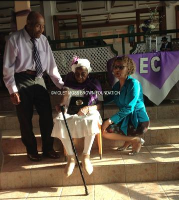 Violet Moss Brown with her Son & Mrs Bernard - Owner of Glistening Waters